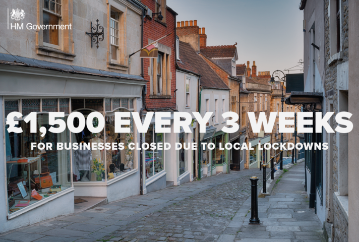Image of a street with the text '£1,500 every three weeks for businesses closed due to local lockdowns'.