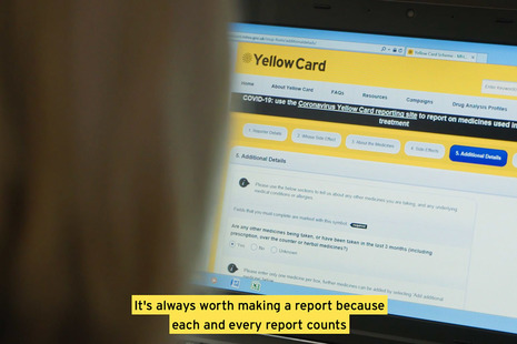 A photo of someone looking at the Yellow Card website
