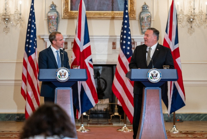 Foreign Secretary Dominic Raab with US Secretary of the State Department Mike Pompeo