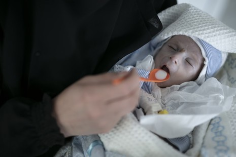 A baby suffering from malnutrition is fed by his mother in a hospital in Sana'a, Yemen. Picture: UNICEF