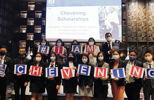 Applications for the UK Government's Chevening Scholarships open 3 September 2020