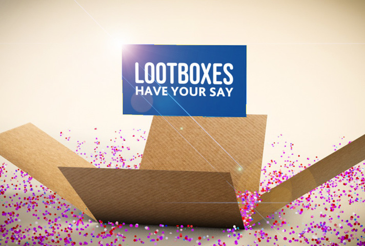 Lootbox image reminiscent of those in video games on a light background with the words: Lootboxes, have your say