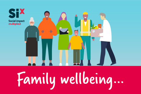 Graphic showing a line of people standing over the words Family Wellbeing