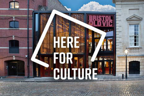 Bristol Old Vic exterior with a Here for Culture branding logo in the foreground