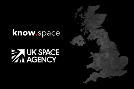 UK map with know.space and UKSA logos