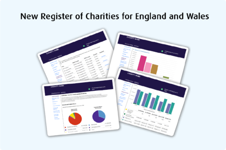 Screenshots of the new register of charities showing chart charts and pie charts. Includes the wording 'New register of charities for England and Wales'.