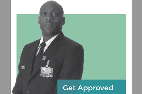 Image shows a licensed security operative and the words 'Get Approved'