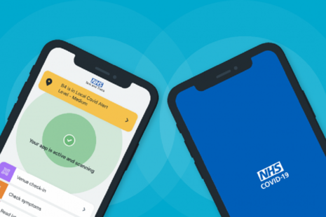 Graphic of 2 smartphones with the NHS COVID-19 app