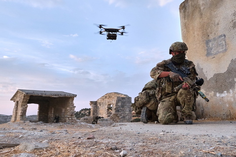 Royal Marines trained with the Malloy T-150 quadcopter drones