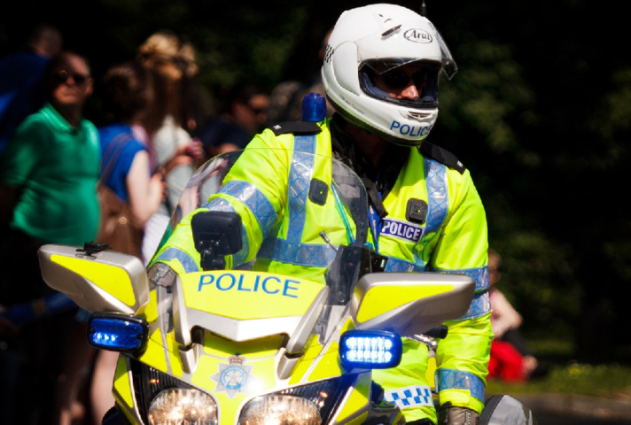 Police officer on motorbike