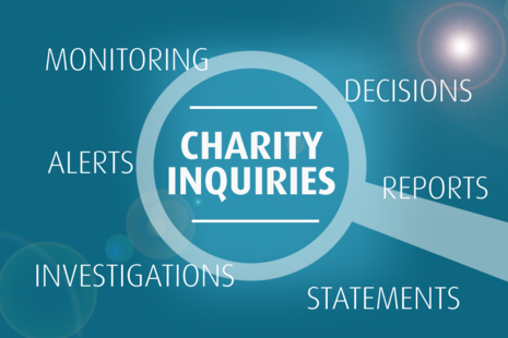 A magnifying glass hoovering over the words 'Charity Inquiries'. At each side of the image it has the words 'reports', 'alerts', 'statements' and 'decisions'.