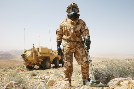 Soldier wearing breathing apparatus