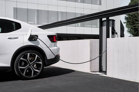 Picture of an electric car recharging.