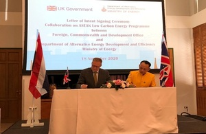 UK and Thailand sign Letter of Intent to promote inclusive economic growth in the energy sector