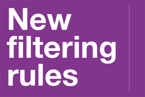 Decorative image that reads 'New filtering rules'.