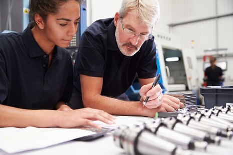 Stock image of an apprentice and tutor.