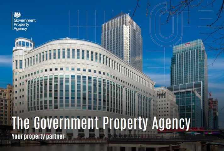 Building at 10 South Colonnade with text that says: The Government Property Agency, Your Property Partner