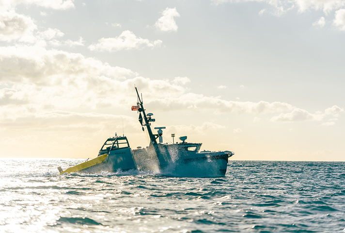 Image depicts an Autonomous Minehunting System in the water.