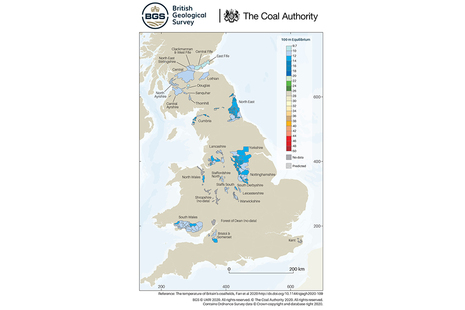 The interactive map showing where the mines are and the extent by which temperatures increase with depth