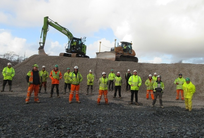 Socially distanced construction workers on the LLWR site