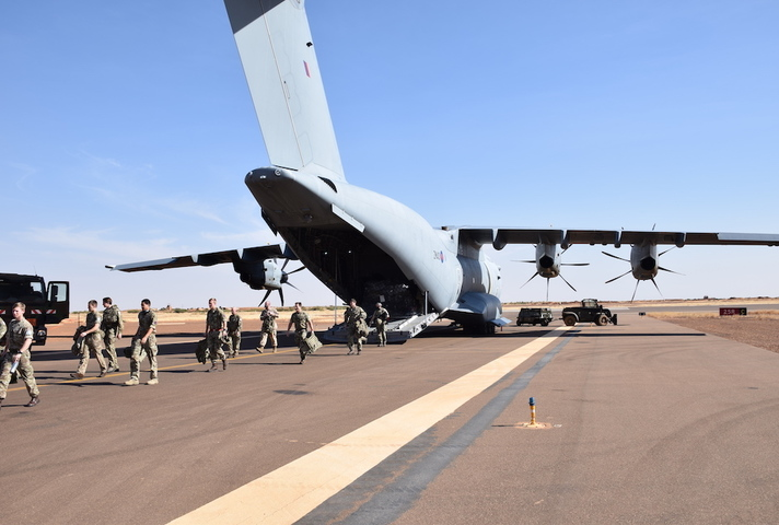 UK troops arriving in Mali on an RAF A400m