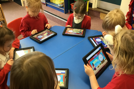 Gosforth Primary School pupils with their new iPads