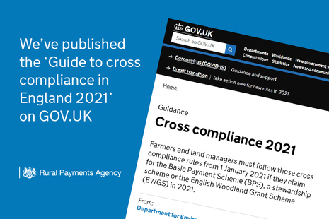 We've published the 'Guide to cross compliance in England 2021' on GOV.UK