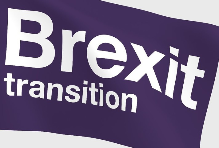 A flag stating Brexit transition