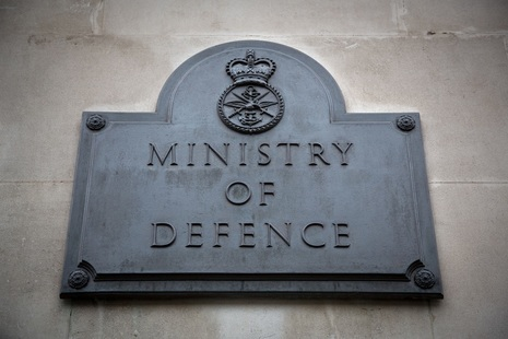 Ministry of Defence plaque on outside of building.