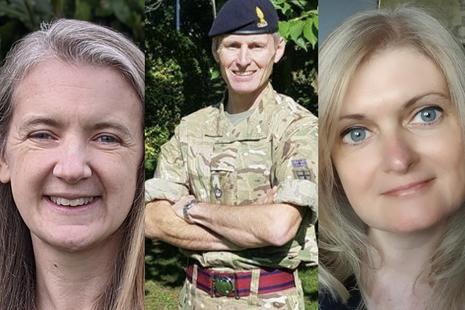 Dr Joanne Thwaite, Lt Col Gareth Walker and Dr Phillippa Spencer