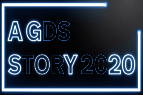 A GDS Story 2020 shown in illuminated blue neon lights.