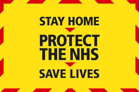 Graphic that reads: Stay Home, Protect the NHS, Save Lives