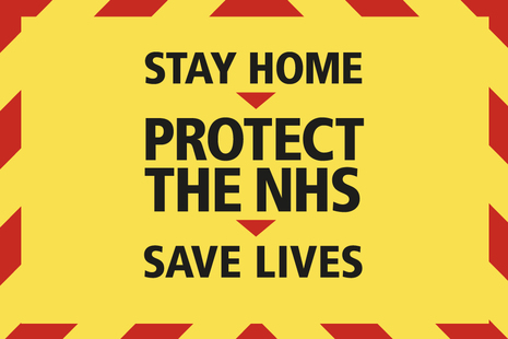 Graphic that says: stay home, protect the NHS, save lives