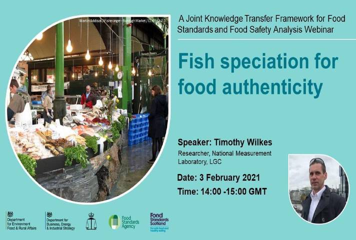 Webinar information slide with picture of fish market and Timothy Wilkes