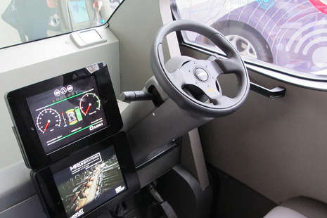 Image of the interior of a self driving car.