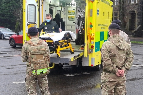 Armed Forces personnel are deployed to Wales, supporting the Welsh Ambulance Service NHS Trust with drivers and medics