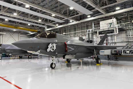Photograph of the F-35 aircraft inside the base at RAF Marham.