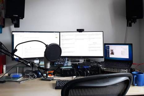 Empty desk with screen