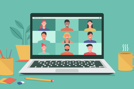 animation of laptop with faces on the screen