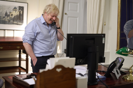Prime Minister Boris Johnson on the phone to President Joe Biden