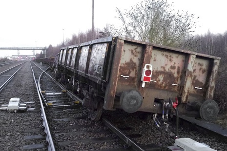 The derailed wagons at Toton South junction (courtesy of DB Cargo)