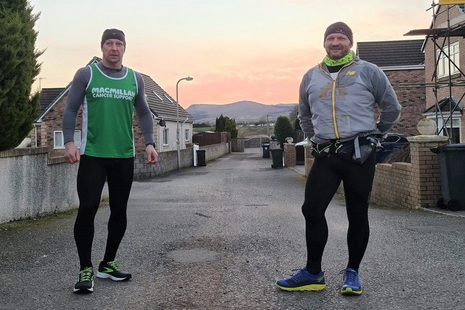 Kevin (left) and Gary (right) setting off on their journey