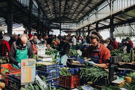 A bustling vegetable market.