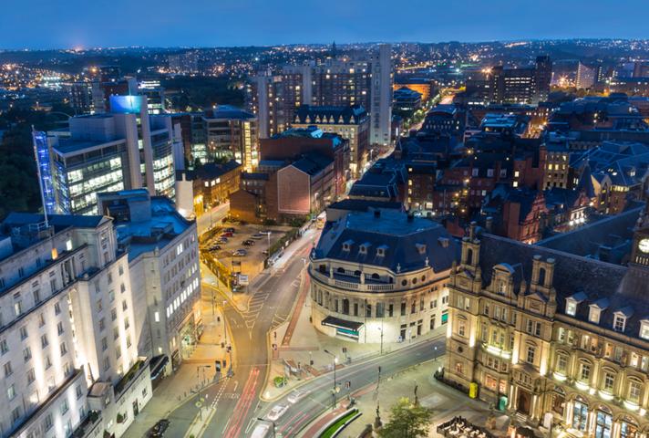Night view of Leeds