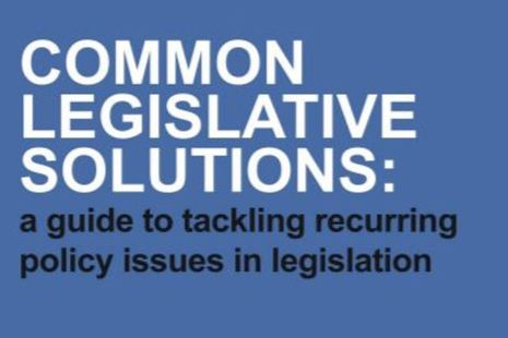 Image of text that reads 'Common legislative solutions: a guide to tackling recurring policy issues in legislation'