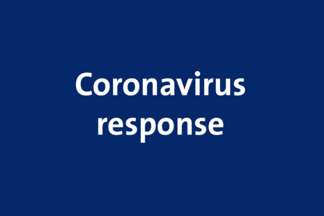 white text on a blue background, text reads: Coronavirus response