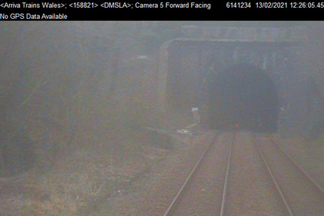 CCTV image from the train showing the tunnel portal (courtesy of Transport for Wales)
