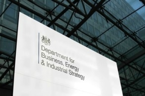 Exterior metal sign for the Department for Business, Energy and Industrial Strategy
