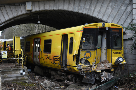 Derailed train after the collision
