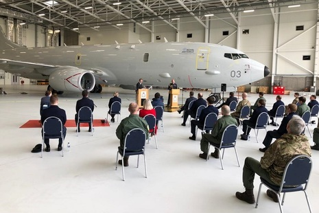 Alister Jack delivering his speech at RAF Lossiemouth